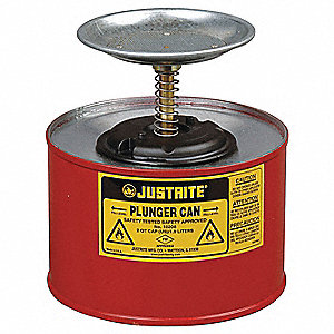 Plunger Can, 1/2 gal., Galvanized Steel, Red, 5""