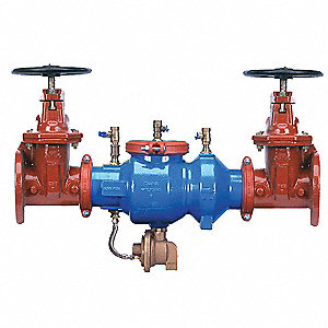 Reduced Pressure Zone Backflow Preventer, Epoxy Coated Ductile Iron Body, Wilkins 375 Series, Flange