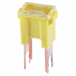 60A Fast Acting, Nonindicating Plastic Fuse with 32VDC Voltage Rating; FLM Series, Yellow