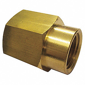 "Brass Reducing Coupling, FNPT, 1/4"" x 1/8"" Pipe Size"