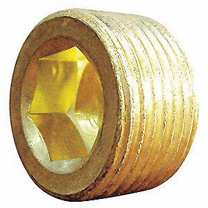 "Brass Countersink Plug, MNPT, 3/8"" Pipe Size (Fittings)"