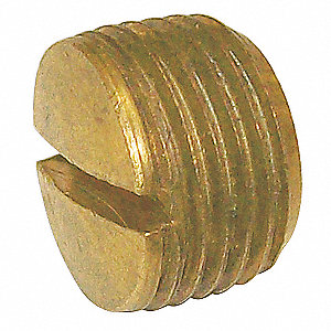 Slotted Plug,Brass,1/8 In,MNPT