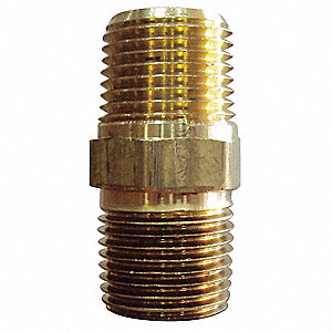 "Brass Hex Nipple, MNPT, 1/4"" Pipe Size"