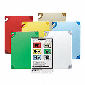 "Blue, Brown, Green, Red, White, Yellow Co-Polymer Cutting Board Set, 15"" x 20"" x 1/2"""