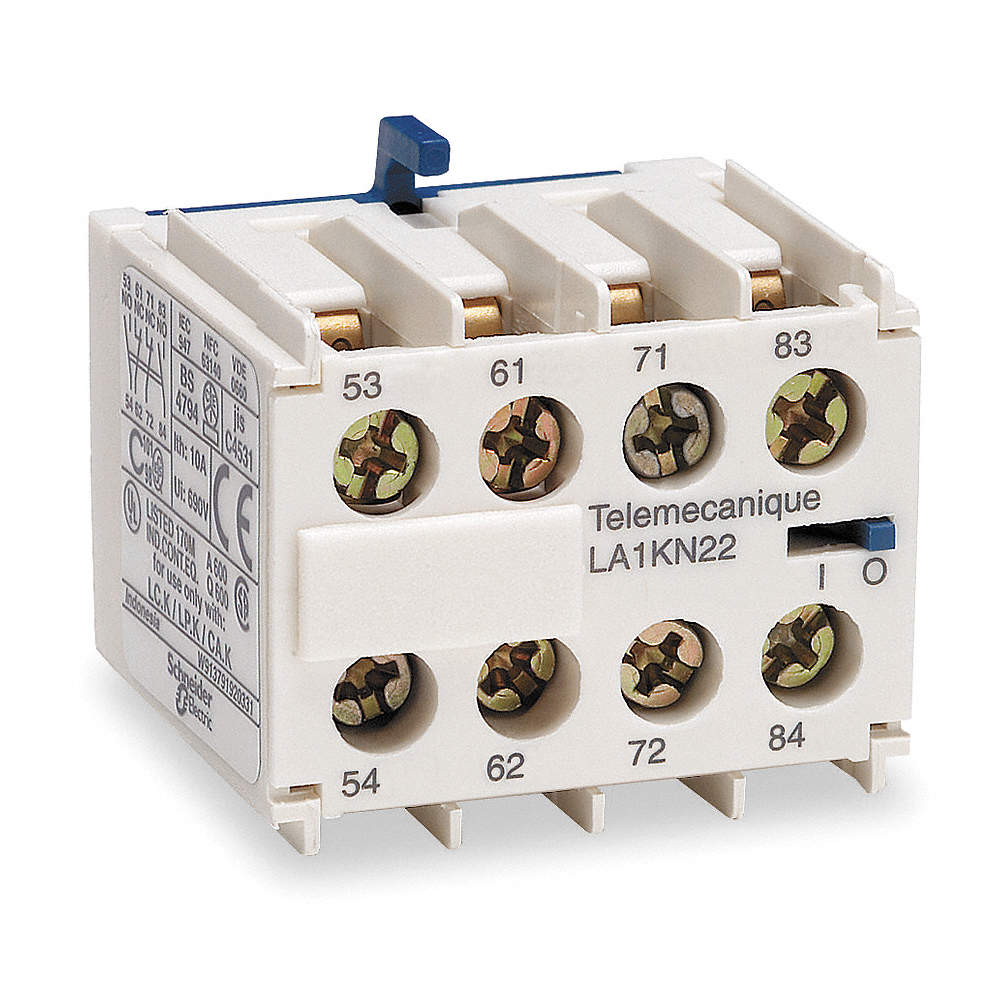 SCHNEIDER ELECTRIC Auxiliary Contact Block, 10 Amps, Front Mounting ...