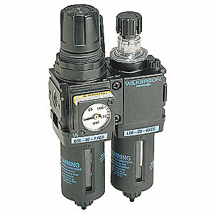 "3.15"" x 6.46"" Filter/Regulator/Lubricator with 0 to 125 psi Adjustment Range"
