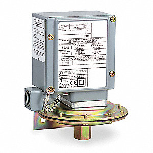 Diaphragm Pressure Switch, Differential: 27 to 130 psi, Range: 20 to 675 psi, NEMA Rating 1