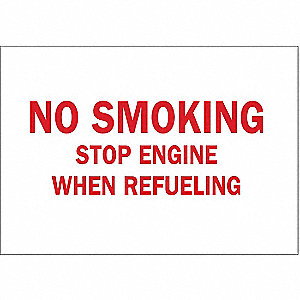 No Smoking Sign,10 x 14In,R/WHT,ENG,Text