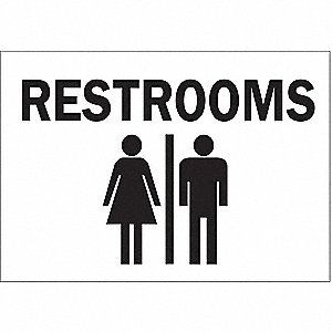 "Restrooms, No Header, Plastic, 10"" x 14"", With Mounting Holes, Not Retroreflective"