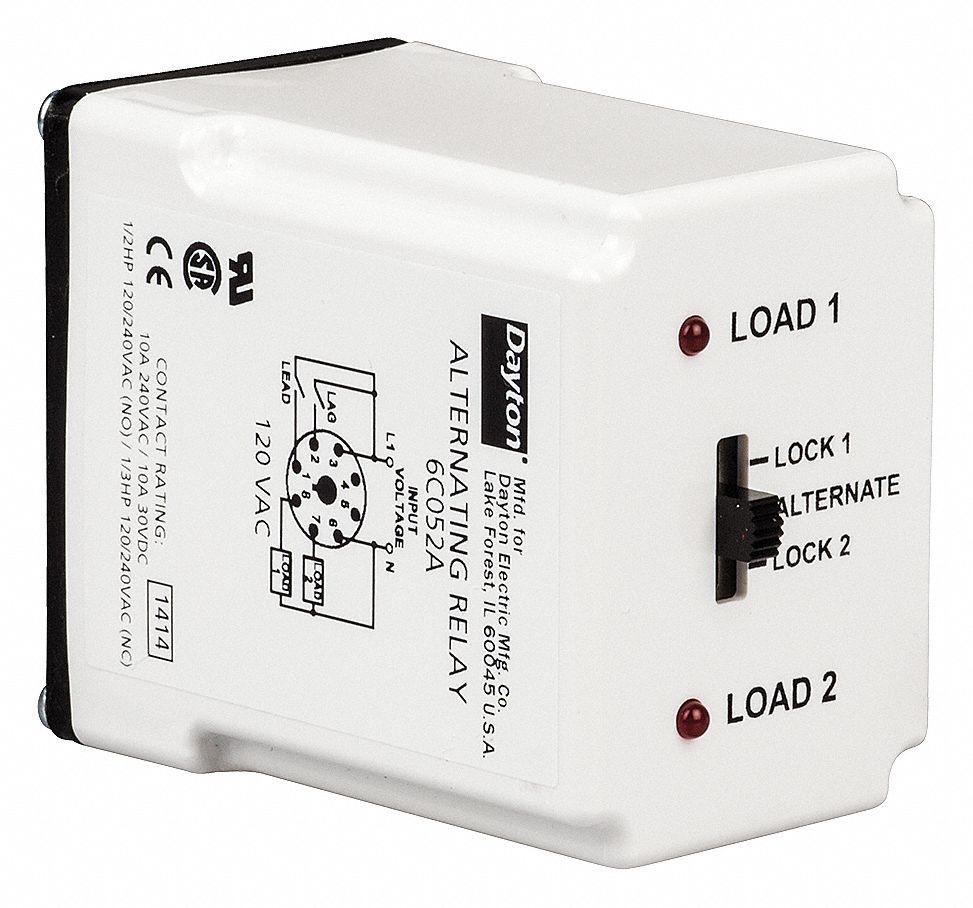 Dayton Alternating Relay 120v Ac 10a 240v 10a 28v Octal Base Type 8 Pins 3 0 Va Dpdt Cross Wired 6c052 6c052 Grainger