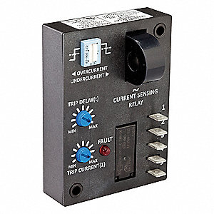 Adjustable Current Sensing Relay, 240VAC Input Voltage, 10.00A Contact Amps, Contact Form: SPDT