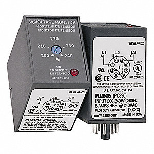 Phase Monitor Relay, 208 to 480VAC Input Voltage, Contact Form: SPDT, Base Type: Octal