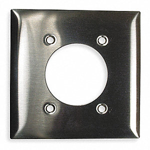 Single Receptacle Wall Plate, Silver, Number of Gangs: 2, Weather Resistant: No