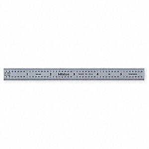 Steel Rule,Flexible,6 In,32/64/10/100ths