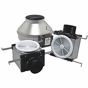 "Galvanized Steel Exhaust Fan Kit, Fits Duct Dia. 4 and 6"", Voltage 120V"