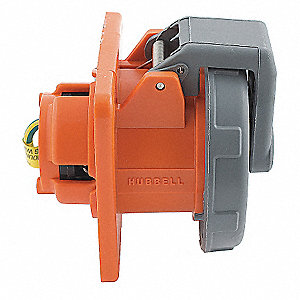 100 Amp, 1-Phase Zytel 101 Nylon Watertight Pin and Sleeve Receptacle, Orange