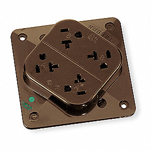 Receptacle,Quad,20A,5-20R,125V,Brown