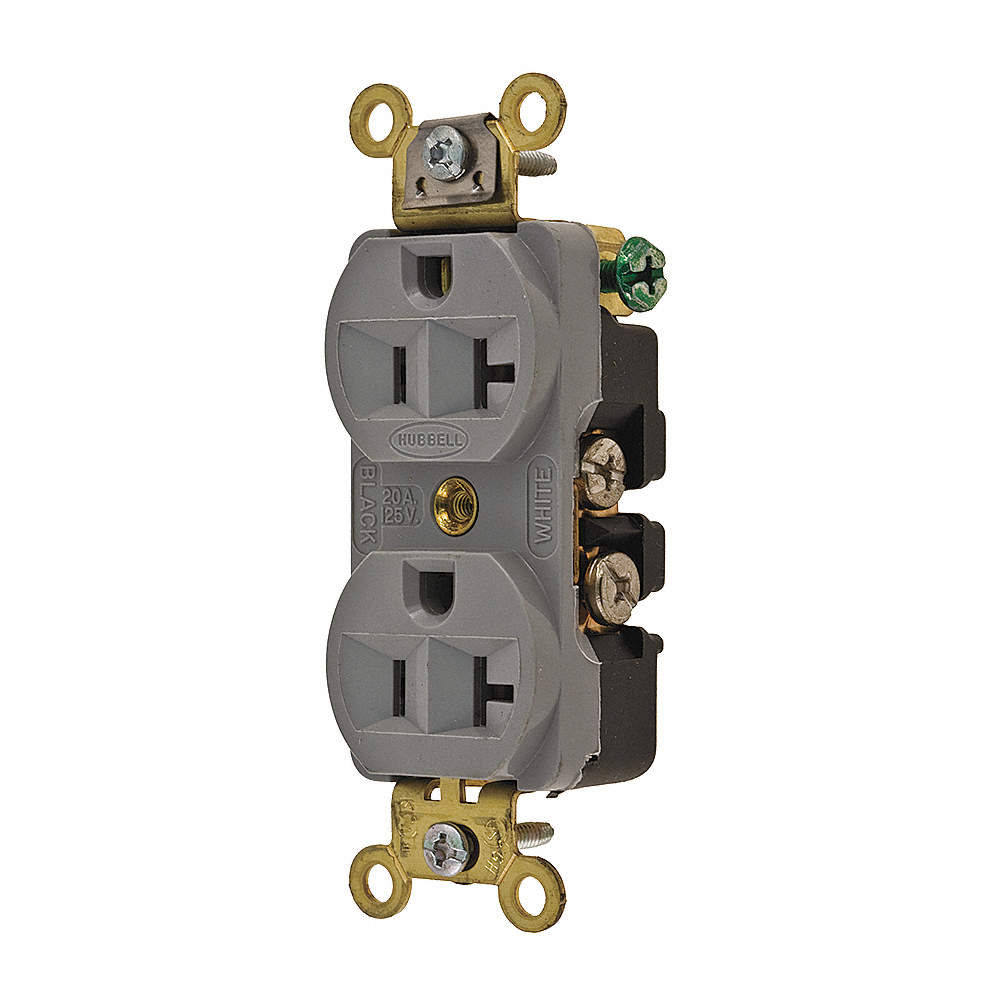 HUBBELL WIRING DEVICE-KELLEMS HBL5352GY Receptacle,Duplex ...