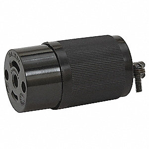 Midget Locking Connector, 120VAC Voltage, 15 Amps, NEMA Configuration: ML-2R, Number of Wires: 3