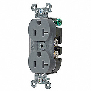 20A Industrial Environments Receptacle, Gray; Tamper Resistant: No