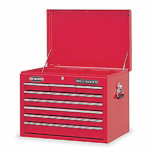 "Red Top Chest, 26"" Width x 17-1/2""  Depth x 19-3/4"" Height, Number of Drawers: 8"