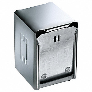 "4-1/2"" x 4-1/2"" x 6"" Steel Napkin Dispenser, Chrome"
