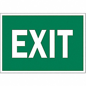 Exit Sign,7 x 10In,GRN/WHT,Exit,ENG,Text