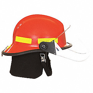 Red Fire Helmet, Shell Material: Fiberglass, 6pt. Ratchet Suspension, Fits Hat Size: One Size Fits M