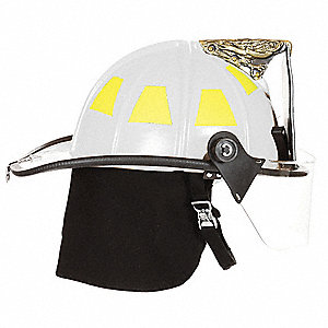White Fire Helmet, Shell Material: Fiberglass, 6pt. Ratchet Suspension, Fits Hat Size: One Size Fits