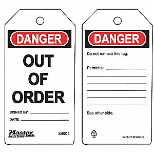 "Danger Tag, Accident Prevention, Polypropylene, 5-3/4"" x 3"""