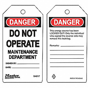 "Danger Tag, Polypropylene, Do Not Operate, 5-3/4"" x 3"", 6 PK"
