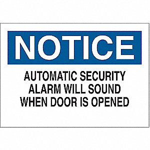 "Security and Surveillance, Notice, Plastic, 10"" x 14"", With Mounting Holes, Not Retroreflective"