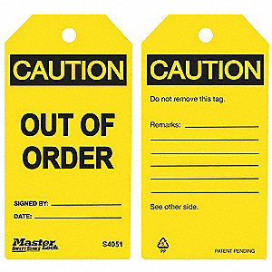 "Polypropylene, Out Of Order Caution Tag, 5-3/4"" Height, 3"" Width"