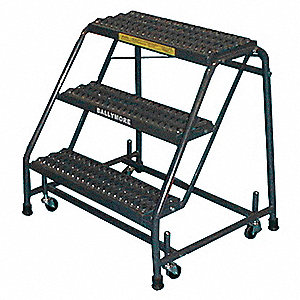 "4-Step Rolling Ladder, Expanded Metal Step Tread, 38"" Overall Height, 450 lb. Load Capacity"