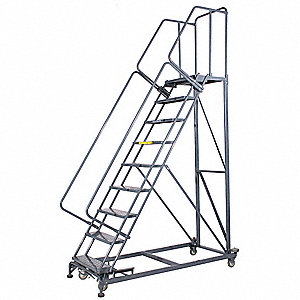 "12-Step Rolling Ladder, Serrated Step Tread, 153"" Overall Height, 800 lb. Load Capacity"