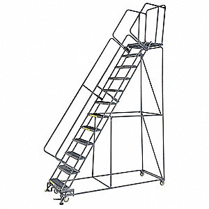 "12-Step Rolling Ladder, Serrated Step Tread, 153"" Overall Height, 450 lb. Load Capacity"