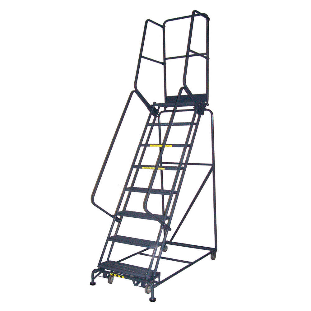 BALLYMORE 15-Step Rolling Ladder, Perforated Step Tread, 196 ...
