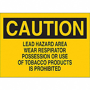 "Personal Protection, Caution, Polyester, 10"" x 14"", With Mounting Holes, Not Retroreflective"