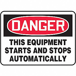 "Machine and Operational, Danger, Vinyl, 10"" x 14"", Adhesive Surface, Not Retroreflective"