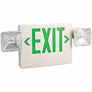 Exit Sign w/Emergency Lights,5.4W,Grn