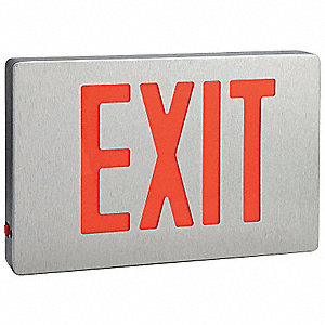 Exit Sign w/ Btry BackUp,0.4W,Red,1 or 2