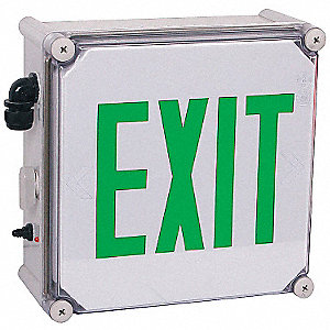 LED Exit Sign with Battery Backup, Gray Housing Color, Polycarbonate Housing Material