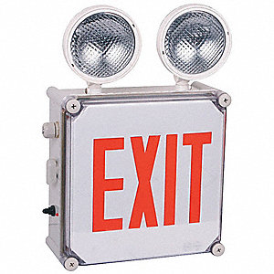 Exit Sign w/Emergency Lights,2.5W,Red