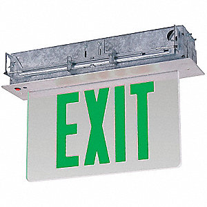 LED Exit Sign with Battery Backup, Gray Housing Color, Aluminum/Acrylic Housing Material