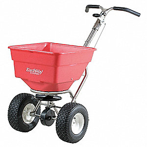 Broadcast Spreader, 100 lb. Capacity, Pneumatic Wheel Type, 3 Hole Drop Type, Adjustable Stainless H