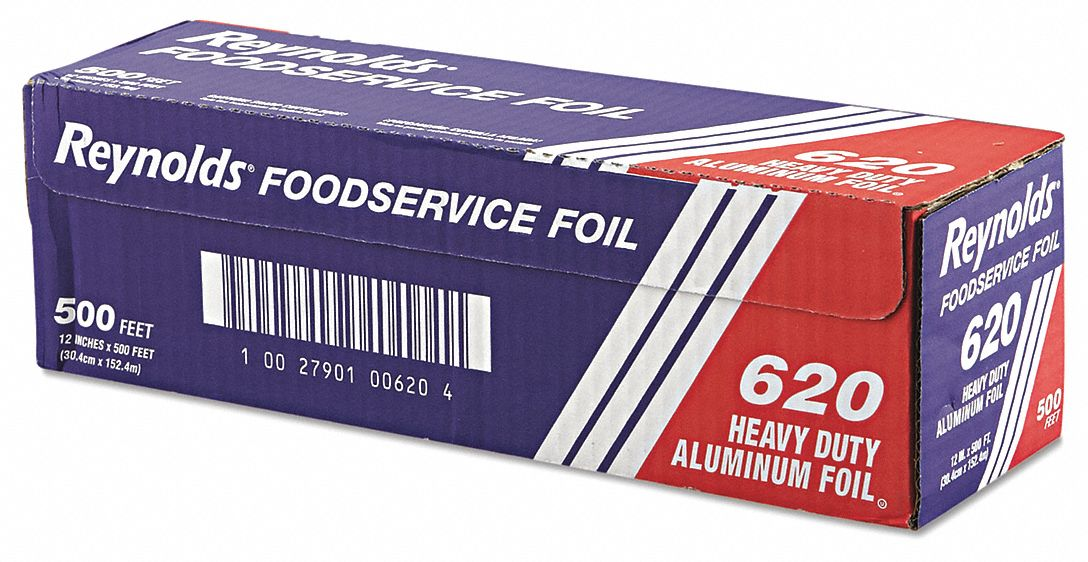 Foil Roll,  Aluminum,  Heavy Duty,  500 ft Roll Length,  12 in Width,  Silver