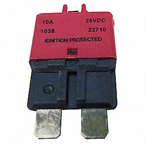 CB227 Series Automotive Circuit Breaker, Plug In Mounting, 10 Amps, Blade Terminal Connection