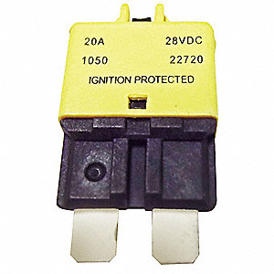 CB227 Series Automotive Circuit Breaker, Plug In Mounting, 20 Amps, Blade Terminal Connection