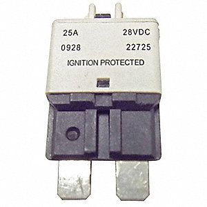 CB227 Series Automotive Circuit Breaker, Plug In Mounting, 25 Amps, Blade Terminal Connection