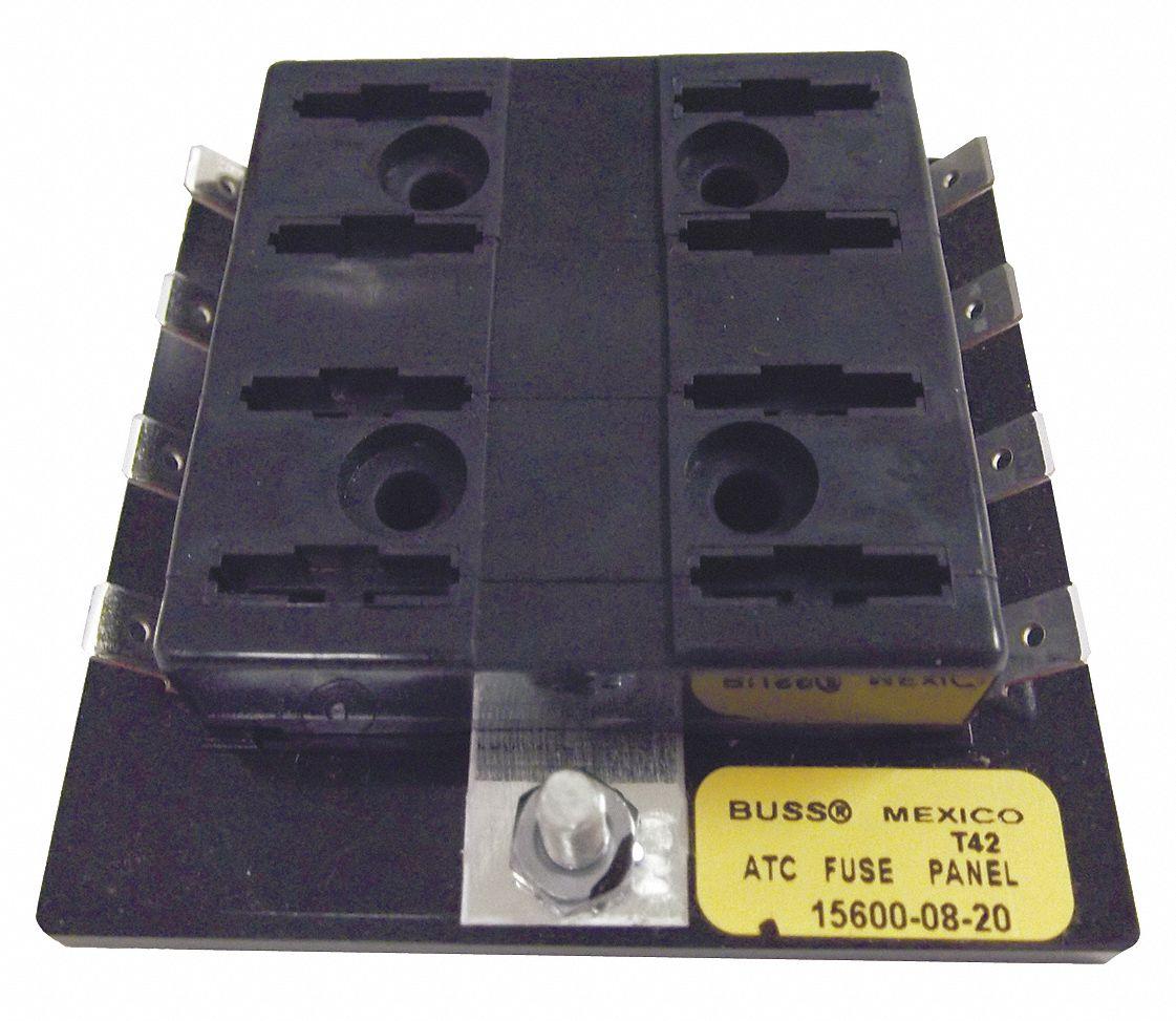 EATON BUSSMANN 8-Pole Automotive Fuse Block, AC: Not Rated, DC: 32VDC, 0 to  30A, Series ATC - 6CJF0|15600-08-20 - Grainger